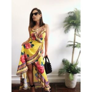 Dresses & Skirts - 🆕Marly Mustard Yellow Floral Maxi Wrap Dress